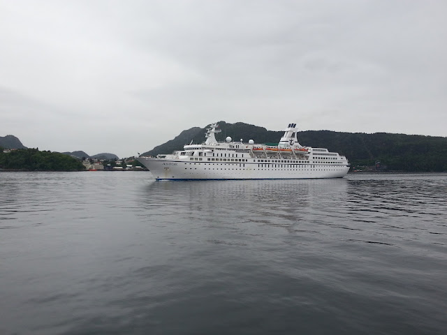 Cruise ship Astor arriving in Bergen, Norway; Fjord cruise; Ships in Bergen