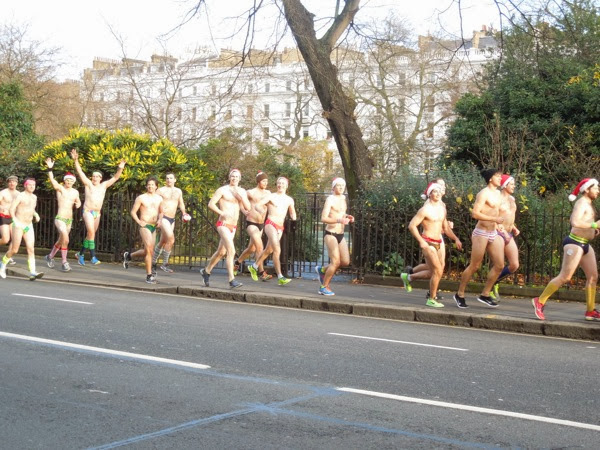 Festive runners in underwear