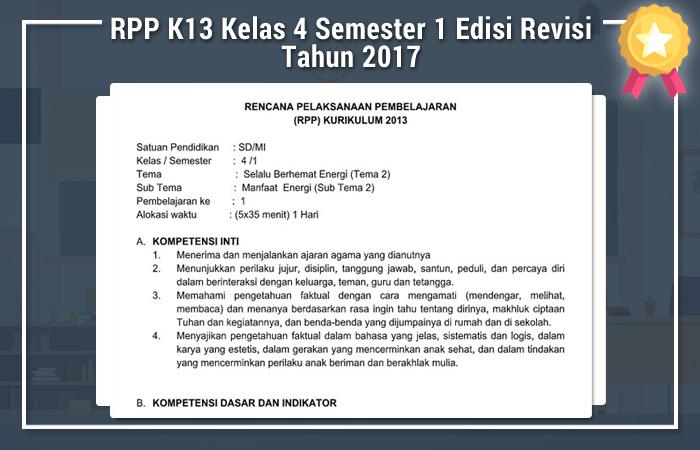 RPP K13 Kelas 4 Semester 1 Edisi Revisi Tahun 2017