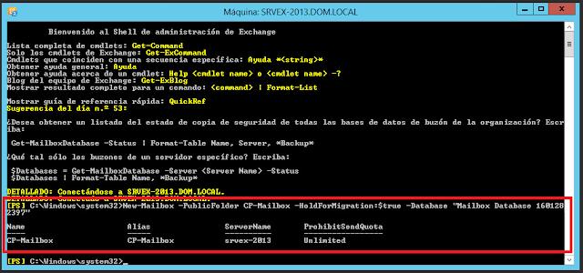 "New-Mailbox -PublicFolder CF-Mailbox -HoldForMigration:$true -Database ""Mailbox Database 1601282397"""
