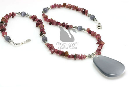 Cat's Eye and Ruby Tourmaline Gemstone Beaded Necklace (NB120)
