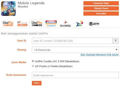 Cara Beli Diamonds Mobile Legends di Unipin