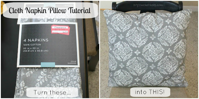 Cloth Napkin Pillow Tutorial: {Make 2 Pillows for under $5}