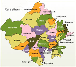 Rajasthan Map District Wise in Hindi - जिला दर्शन GK