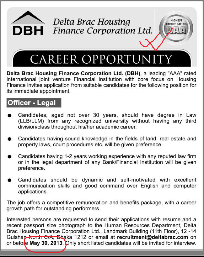 Career at Delta Brac Housing Finance Corporation Ltd (DBH)