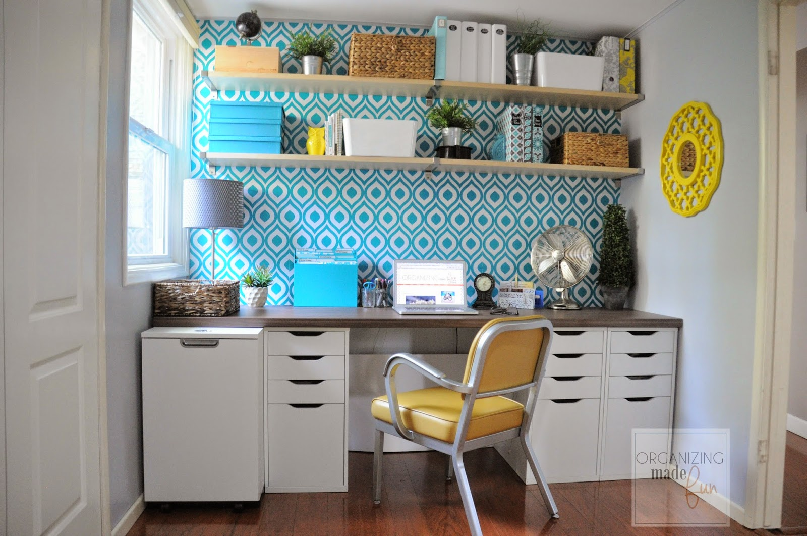 Light, bright and cheery home office with open shelving :: OrganizignMadeFun.com