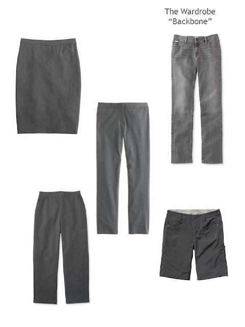 Five charcoal grey bottoms to serve as the backbone of a capsule or travel wardrobe