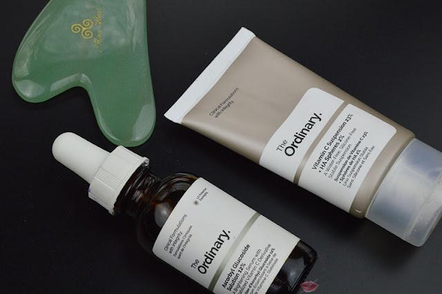 ascorbyl glucoside solution 12%, vitamin c suspension 23% + ha spheres 2%; skincare regime the ordinary, iper pigmentazione, siero, gua sha, massaggio facciale guasha