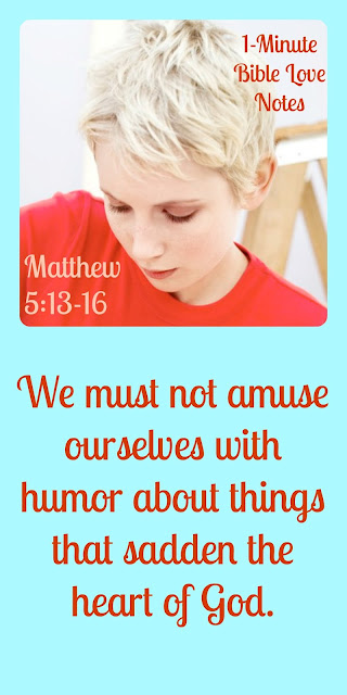We must not amuse ourselves with anything that saddens the heart of God (Matthew 5:13-16).