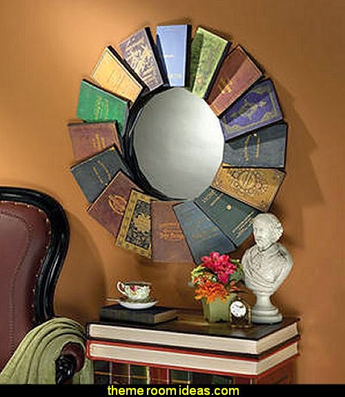 Lord Byron's Compendium of Books Metal Wall Mirror