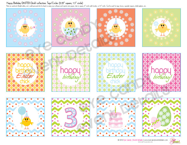 easter birthday tags, easter birthday toppers, easter birthday ideas