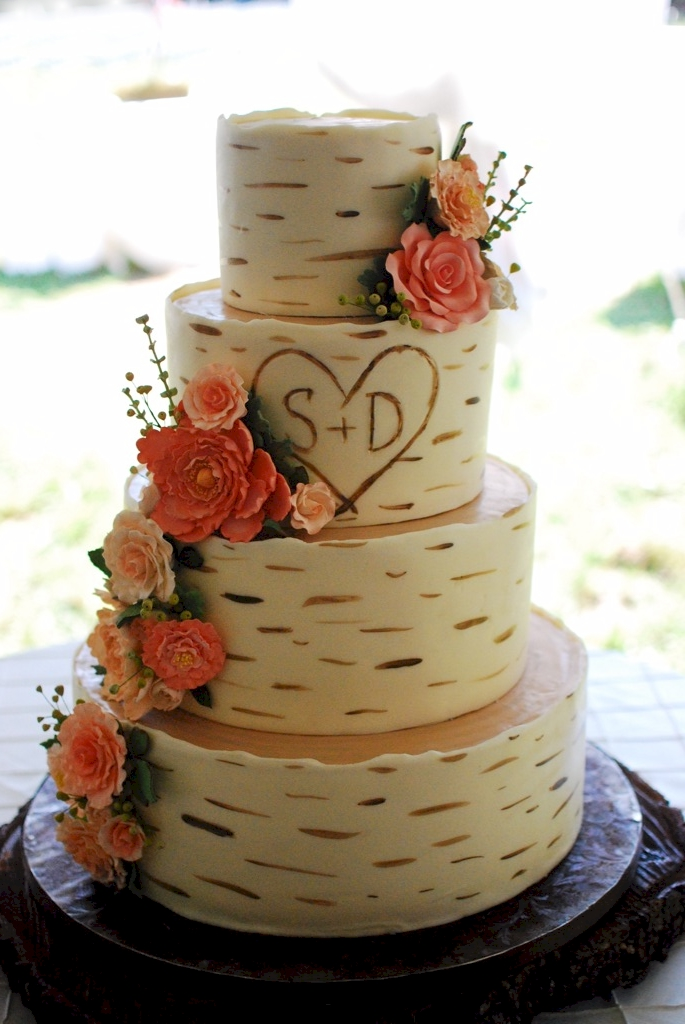 Birch Wood Grain Wedding Cake