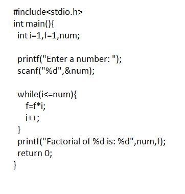 C Program to find Factorial of a Number