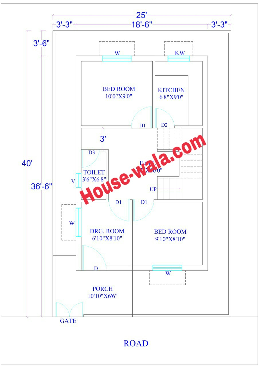 House Plan 25 X 40 feet (1000 Sq Ft) - Housewala