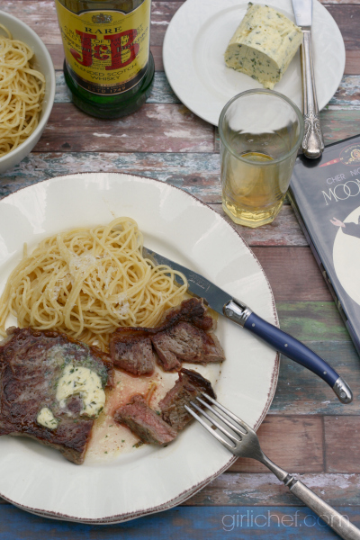 Pan-Seared New York Strip with Whisky Herb Compound Butter inspired by Moonstruck for Food 'n Flix