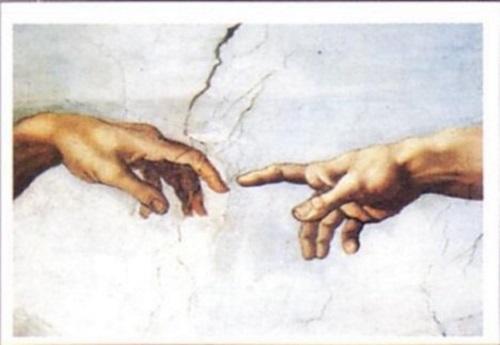 Fragmento do afresco, A Criação de Adão, de Michelangelo Buonarotti, onde se vê o dedo do Criador tocando o de sua criatura. #PraCegoVer