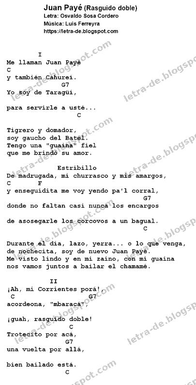 Letra y acordes de Juan Payé