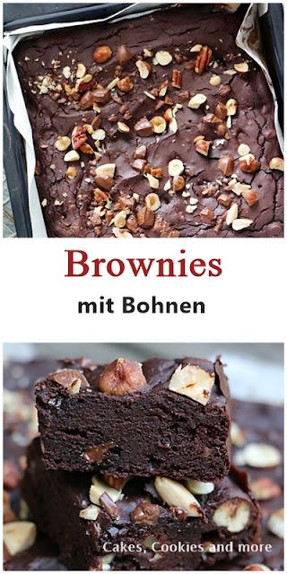 Brownies mit Bohnen, Nüssen und dunkler Schokolade ( ohne Mehl )