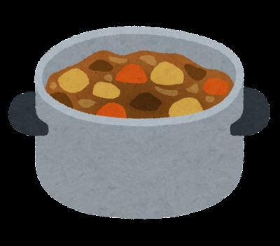 鍋に入ったカレーのイラスト