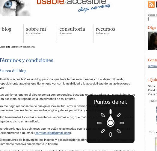 Menú circular visible sobre una página web. Está seleccionada la opción Puntos de referencia