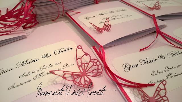 2 I coordinati nei toni del fucsia e rosa tenue di Dalila e Gian MarioColore Fucsia Colore Rosa Colore Rosa Cipria Partecipazioni intagliate Tema Farfalle