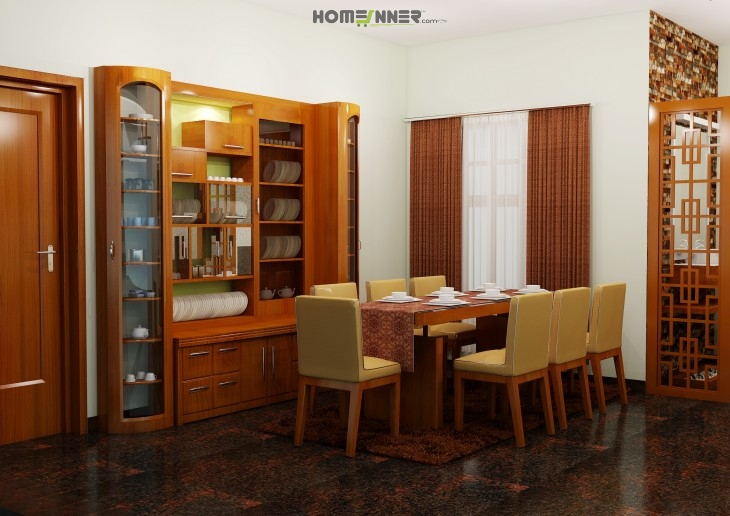 Attractive Dining Room With Shelve Design By Vineeth