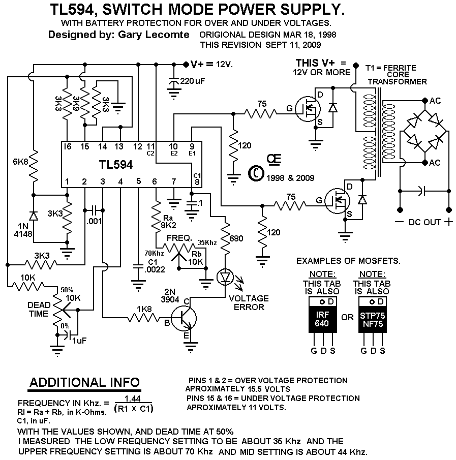 wiring diagram switching power supply