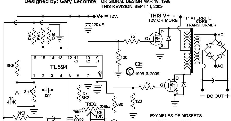 TL594 12V DC Switch Mode Power Supply Circuit Diagram