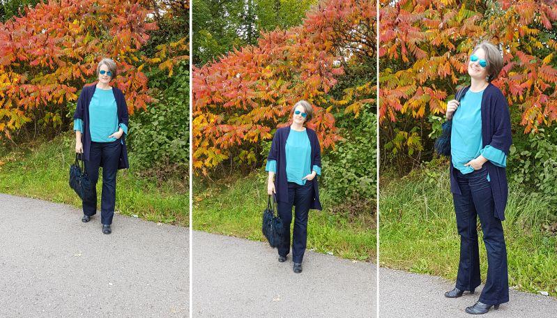 Türkis blaues Herbstoutfit mit Trompetenärmelbluse