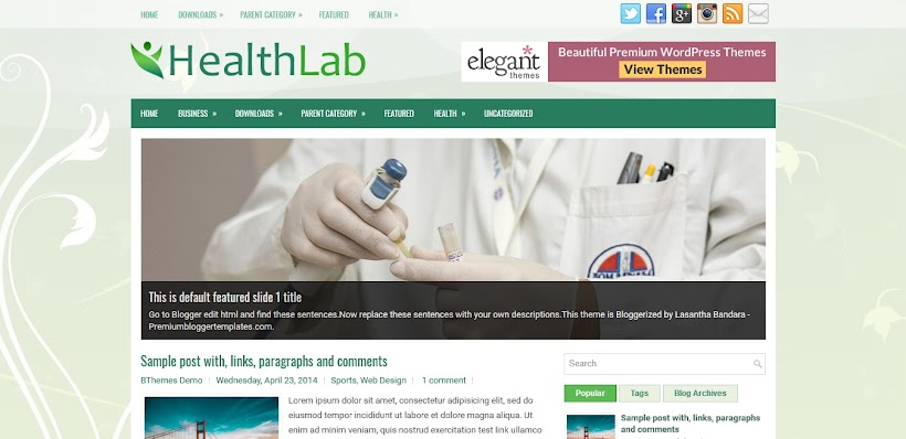 HealthLab Free Blogger Template