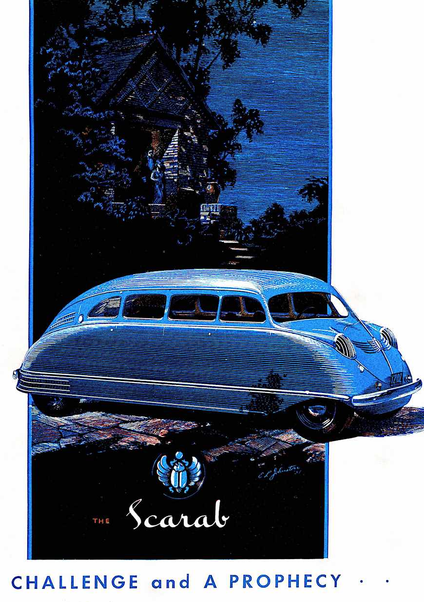 the 1935 Scarab automobile, a color illustration in blue