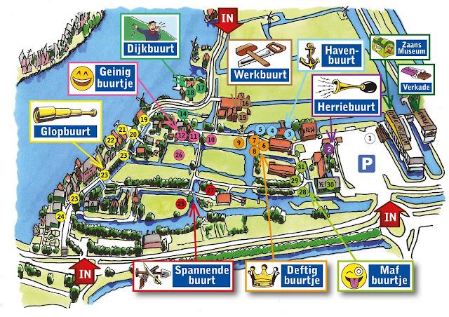 Mapa de Zaanse Schans na Holanda