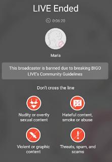Contoh akun bigo live yang di banned
