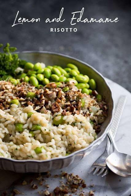 Lemon and Edamame Bean Risotto with Pecans