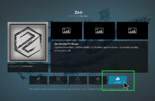 Click Install to begin install zen addon on kodi
