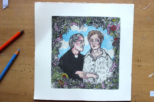 Intaglio Print Watercolour Priest Gay Willies Penises