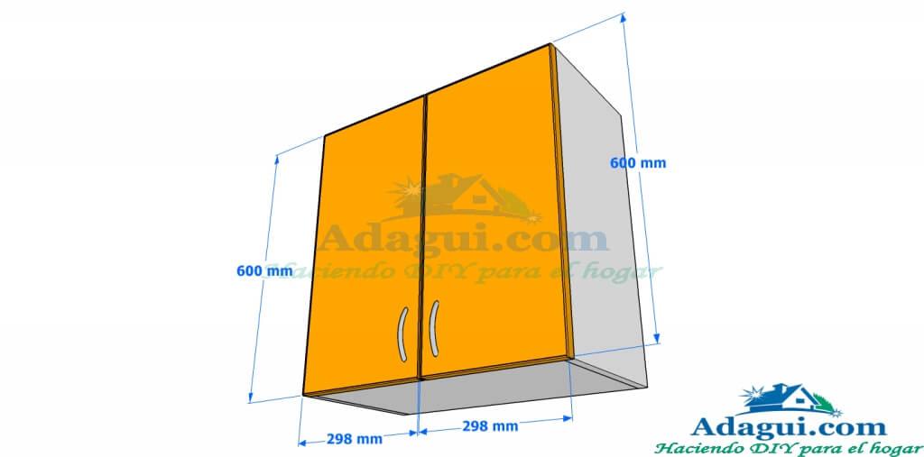 Plano y dise o con medidas mueble alto de cocina melamina for Planos y diseno de muebles
