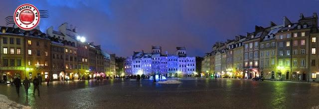 Casco urbano de Varsovia. Iluminación navideña