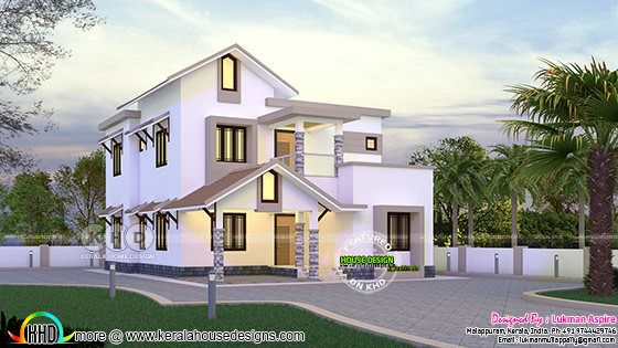 Sloping roof mix 2159 sq-ft home by Lukman Aspire