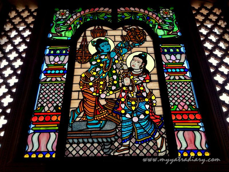 Krishna makhan chor stained glass window vedic art gallery - ISKCON Jaipur, Rajasthan
