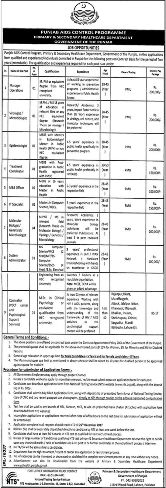 Jobs In Primary And Secondary Healthcare Department Islamabad Dec 2017