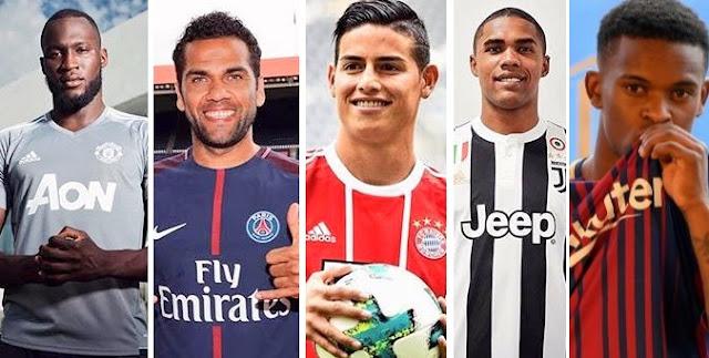 Dani Alves por el PSG, James Rodríguez por el Bayern Munich, Douglas Costa por la Juventus, Lukaku por el Manchester United, Semedo por el Barça