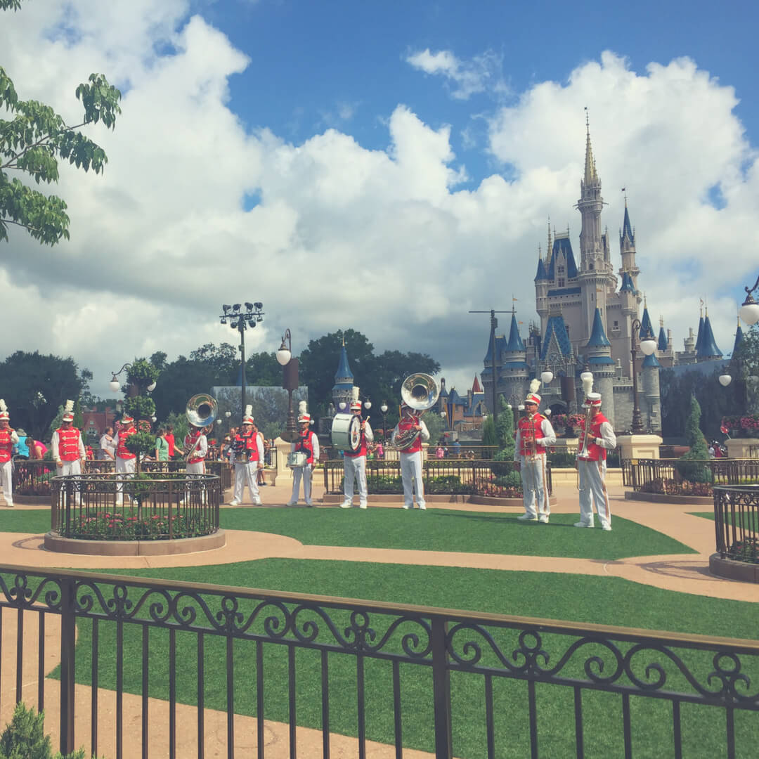 The big band at Magic Kingdom who play in front of Cinderella's Castle in Magic Kingdom, Walt Disney World.