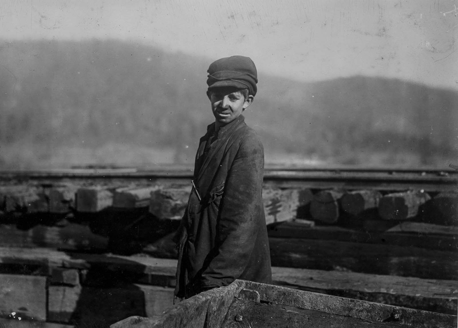 Harley Bruce, a worker at Indian Mountain Mine in Tennessee. 1910.