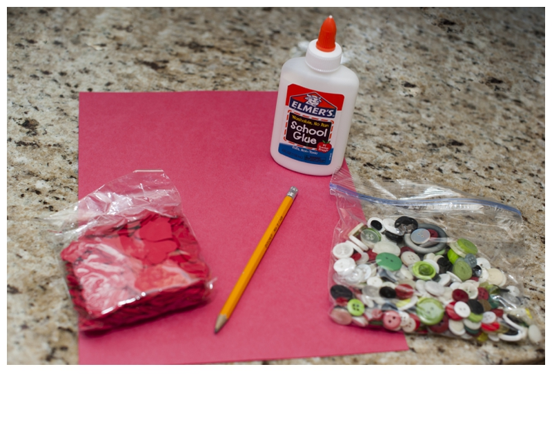Easy Valentine Craft - Using Your Resources - Paper, Buttons, Glue and a Pencil