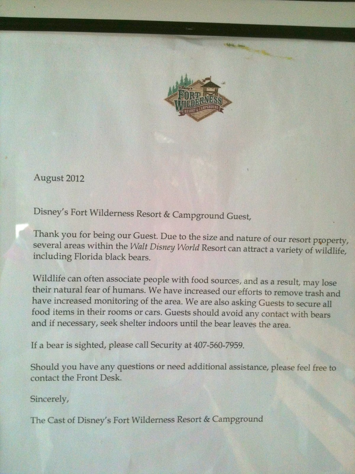 Notice about Black Bears - Tent Camping in Fort Wilderness at The Walt Disney World Resort