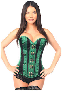 Top Drawer Green/Black Steel Boned Corset w/Clasps and D-Rings