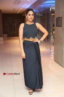 Actress Regina Candra Stills in Beautiful Blue Long Dress at Nagaram Success Meet  0167.JPG