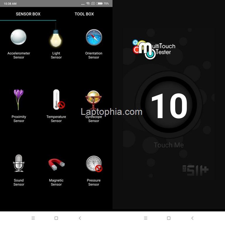 Sensorbox for Android dan Multitouch Tester Xiaomi Redmi Note 5