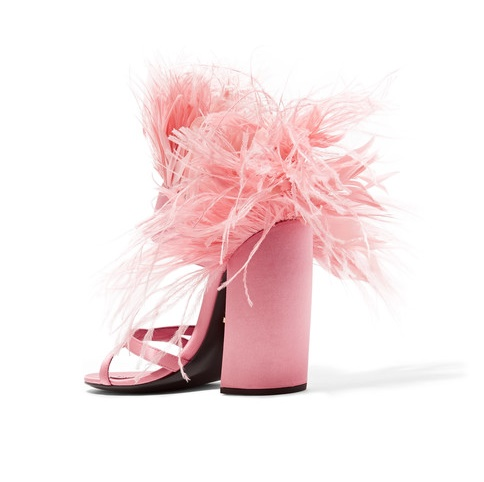 Prada Pink Feather-Trimmed Satin Sandals